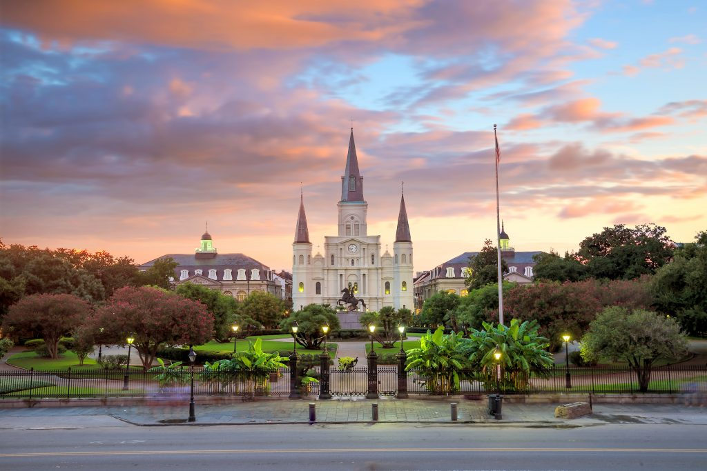 Sunset at Saint Louis Cathedral and Jackson Square in New Orleans.