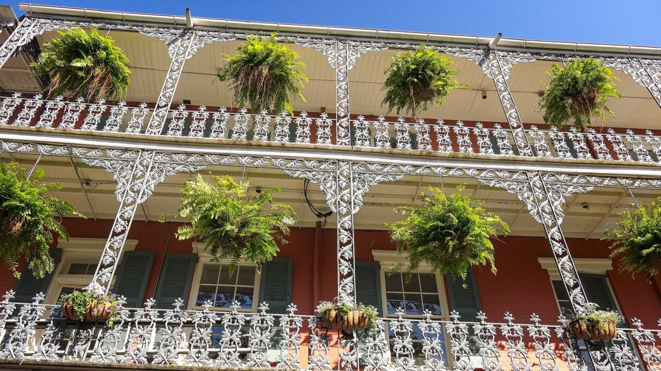 Wrought iron architectural details are a familiar site in the French Quarter.