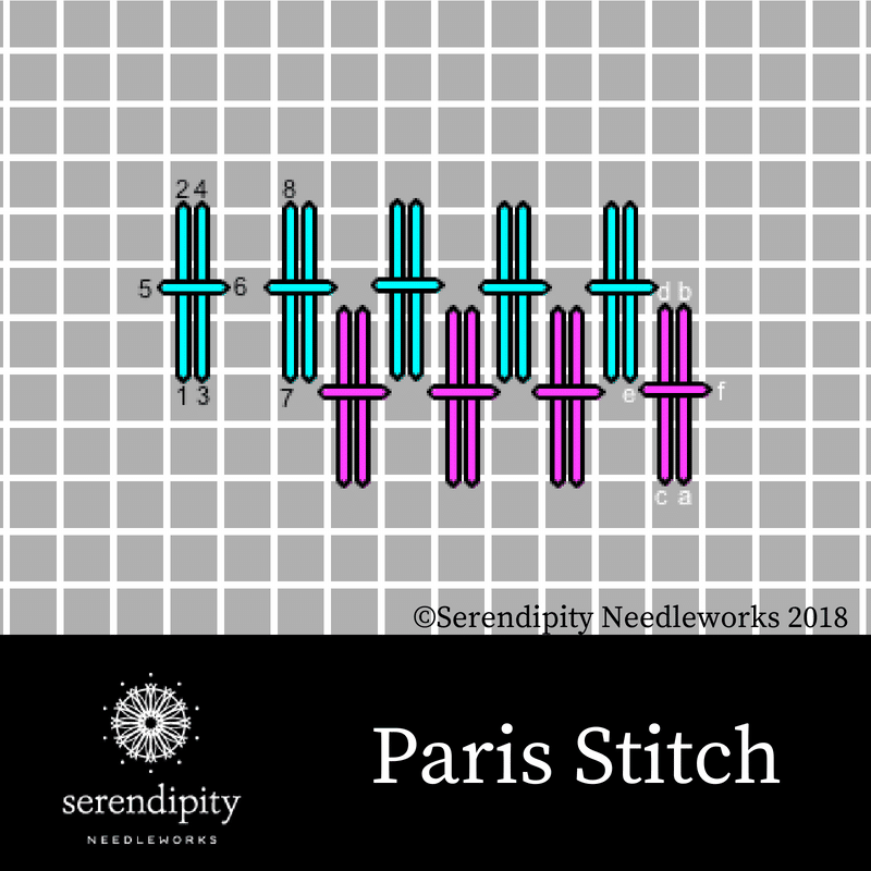 Paris stitch is a great choice for stitching costumes and fancy clothes on your needlepoint projects.