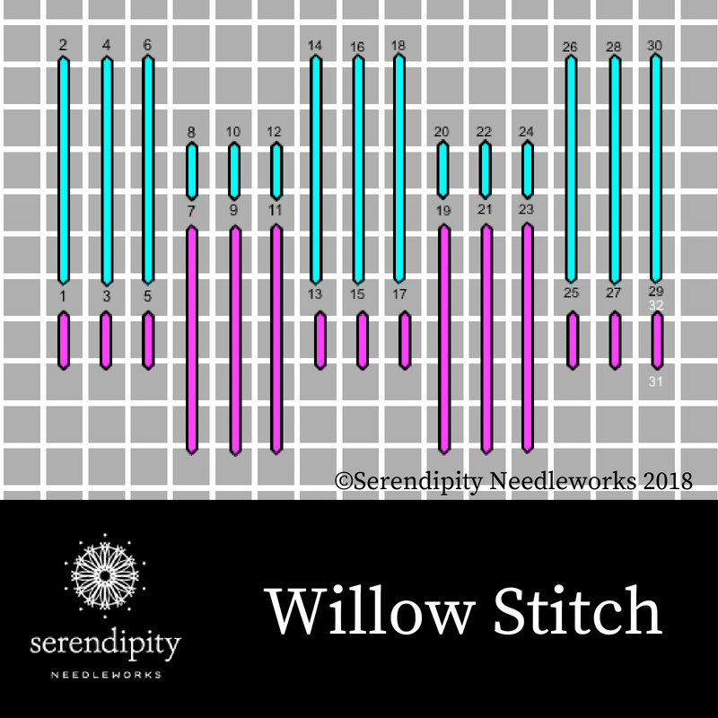 Willow stitch is a great choice for stitching architectural details on your needlepoint projects.