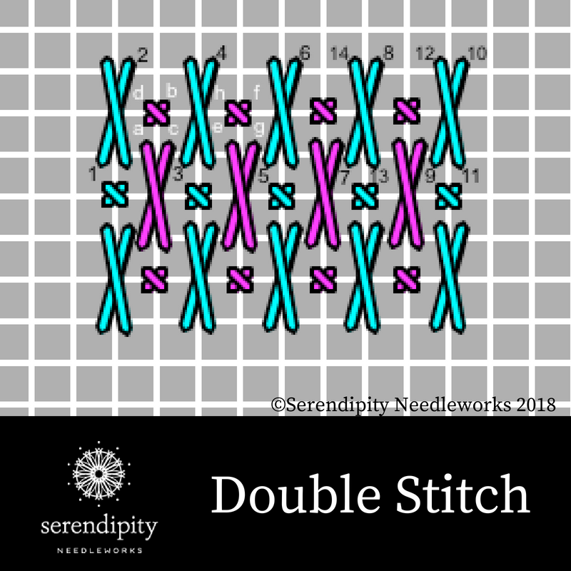 The double stitch is great for stitching trees and shrubs on your needlepoint projects.