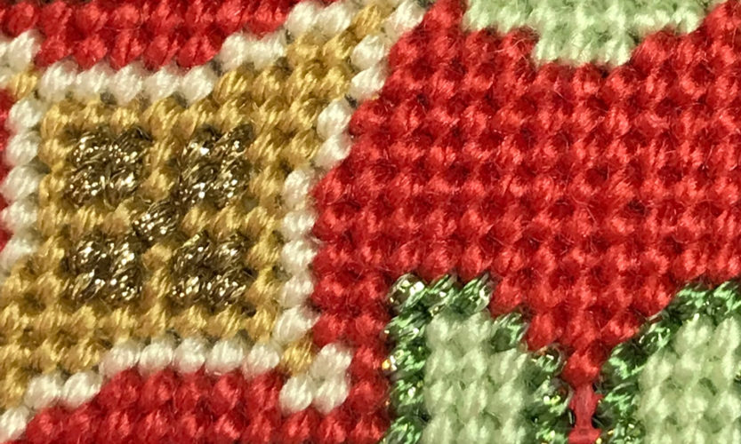 Florentine Bauble is worked entirely in tent stitch.