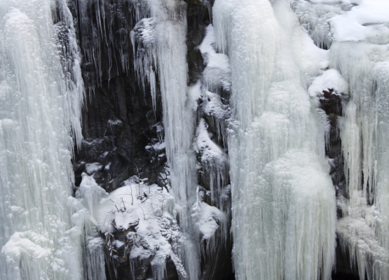 Icy frozen waterfall in Lapland, Sweden